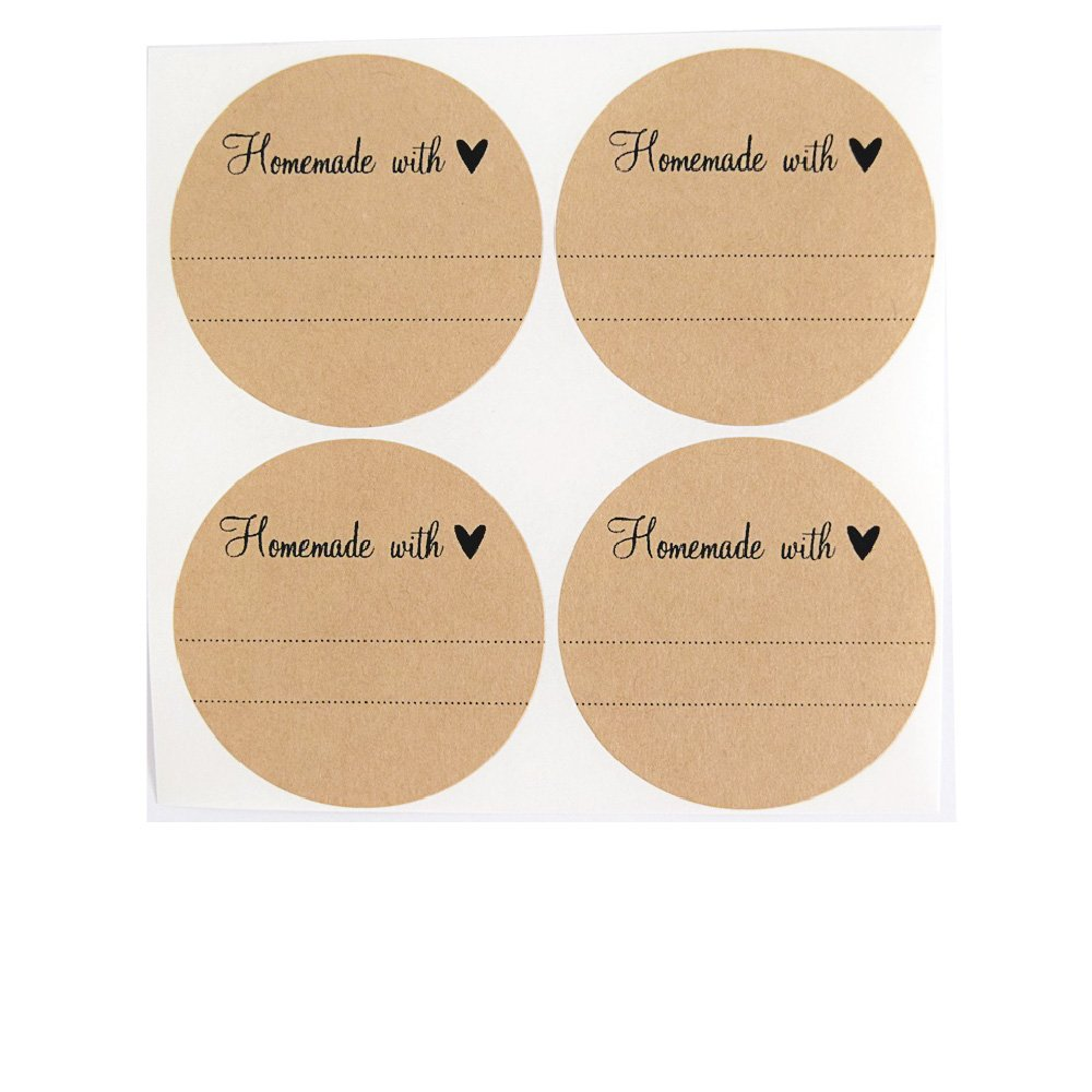 """Amazon.com: Homemade with Love Labels with Heart by Once Upon Supplies, Stickers for Homemade Gifts, 2.5"""" Size for Wide Mouth Mason Jars, 36 Pcs: Kitchen & ..."""