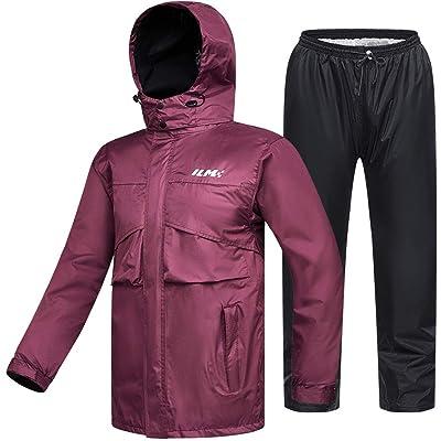 ILM Motorcycle Rain Suit Waterproof Wear Resistant 6 Pockets 2 Piece Set with Jacket and Pants Fits Men Women (Women\'s Large, Wine Red): Automotive [5Bkhe2008416]