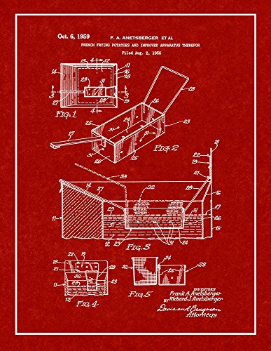 French Fry Deep Fryer Patent Print Burgundy Red with Border (5