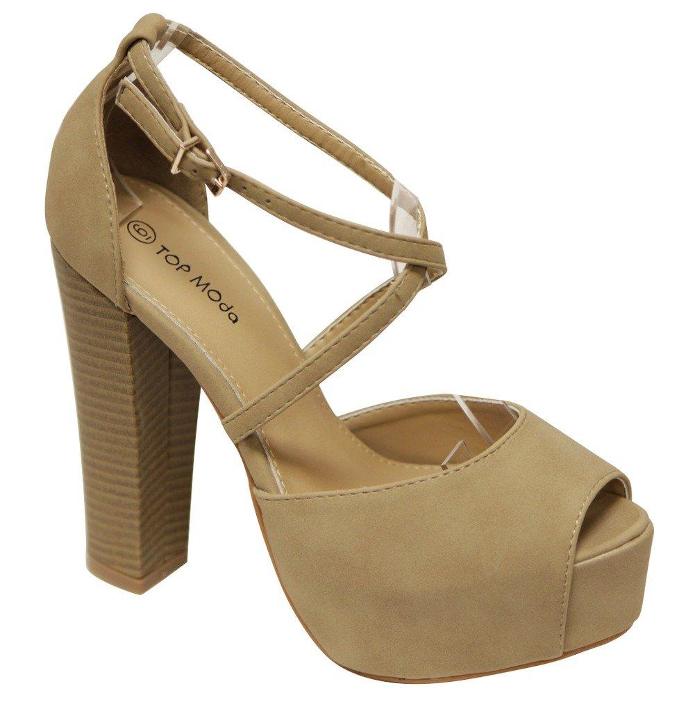 Top Moda Van-1 Women's Platform peep Toe Chunky Heel Adjustable Crossing Ankle Strap Sandals Beige 10