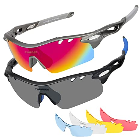 2baff33ef17 Tsafrer Polarized Sunglasses 2 Pairs Sports Sunglasses 4 Interchangeable  Lenses Glass