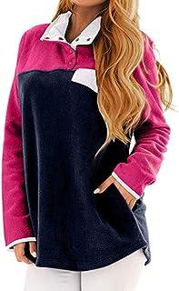 Rovinci Aux Femmes L'automne Hiver Décontractée Bloc de Couleurm Patchwork Col Montant Poche Bouton en Vrac Polaire Douce Sweat-Shirt Pullover