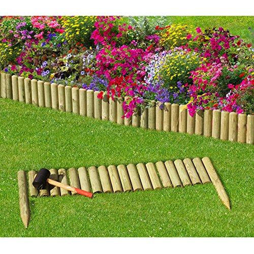 Steckzaun 100 cm Zaunhöhe 20 cm aus Holz für Beeteinfassung Rasenkante von Gartenpirat®