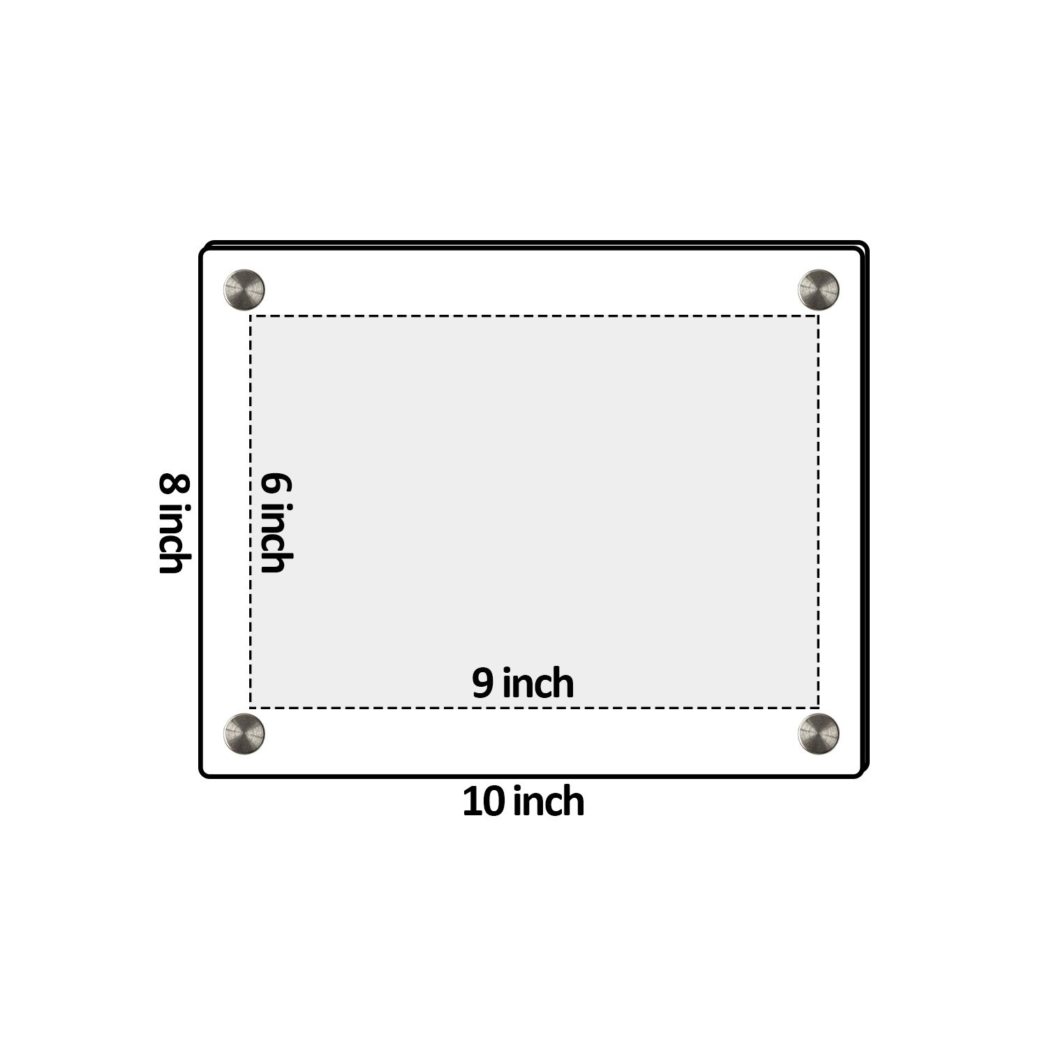 Niubee Clear Acrylic Wall Mount Floating Frameless Picture Frame Up