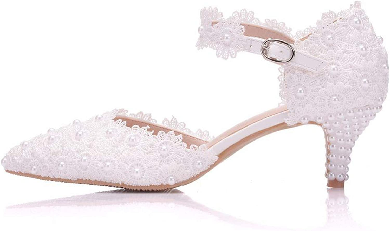 ghhingj Women White Lace 5CM High Heels