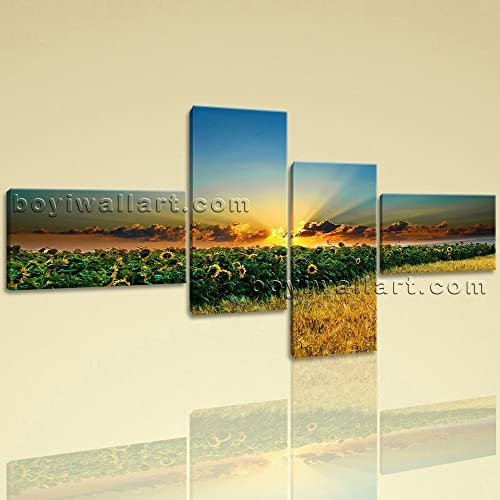 Amazon.com: HD Wall Art Print On Canvas Sunset Landscape Glow ...