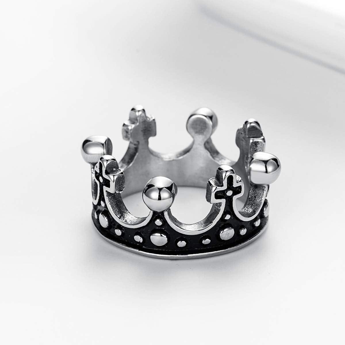 Vintage Corona Diseño Plata De Acero Inoxidable Para Hombre Para Mujer Unisex Anillo Talla 6-12