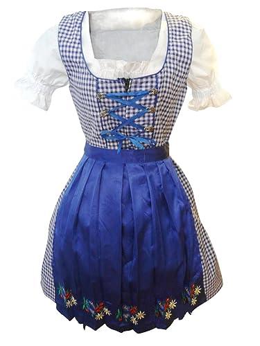 Di12 Midi Dirndl, 3 partes en vestido de traje vestido a cuadros azul con una blusa y una falda azul, longitud de la falda 56 cm, Gr. 44
