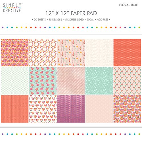 """Premium Craft Paperstock Simply Creative 12x12"""" Floral Luxe Scrapbook Paper"""