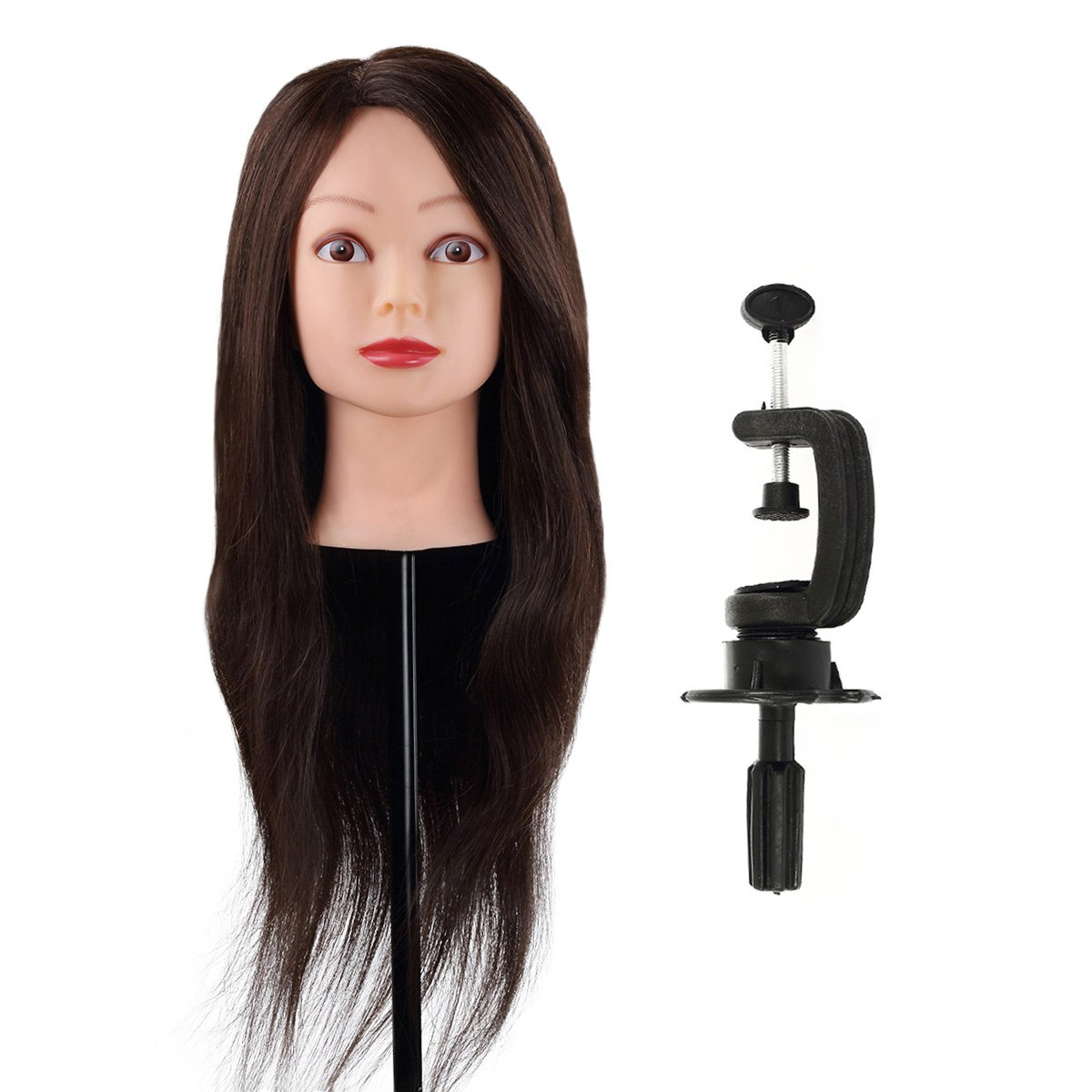 Maniquí de Cabeza para practicas de peluquería , sintético con el pelo largo, 56CM (con soporte)-CoastaCloud