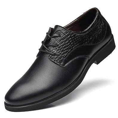 f2cfad57e592 Feidaeu Anzugs Schuhe Businessschuhe Bankett Gemütlich Blockabsatz Gummi- Außensohle Anti-Rutsch Abriebfest Halbschuhe Schwarz