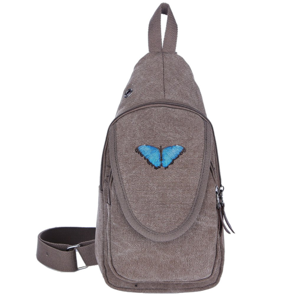 MOME CAW Blue Butterfly Chest Pack Sling Shoulder Bag CrossBody Backpack For Sports And Hiking on sale
