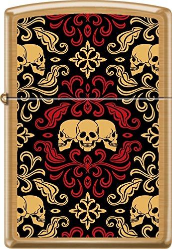 (Zippo Day Of The Dead Skulls Ornament Tattoo Art Brushed Brass Windproof Lighter)