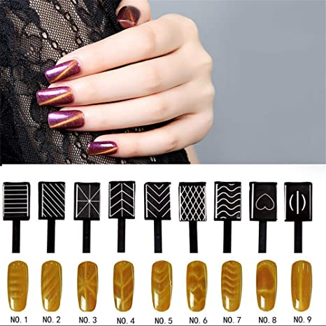 Amazon.com : RoseFlower 9pcs/set Nail Magnet Tool Set With Double Head Flower Design Nail Magnet Pens And Strong Magnet Stick For Cat Eye 3D Effect UV Gel ...