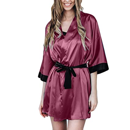 bafe8d63266c Nacome Lingerie Bodysuit Sex Set Sexy Silk Satin Kimono Robe Lace Bathrobe  Lingerie Sleepwear Pajamas X-Large Wine  Amazon.in  Home   Kitchen