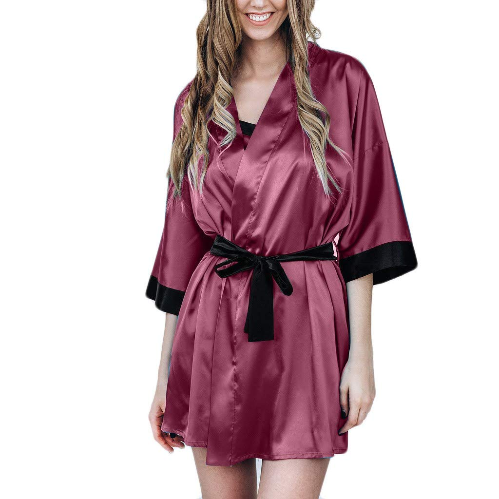 Psunrise Pijamas Women Casual Black Simulation Silk Satin Kimono Robe Lace Bandage Bathrobe Lingerie Sleepwear Pajamas(XL, Wine)