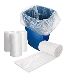 APQ Pack of 50 Clear Trash Bags 17 x 18. Thickness 6 Micron. High Density Polyethylene Garbage Can Liners 17x18. Tear Resistant Trash Liners for Offices, Schools, Kitchen. Wholesae Price.
