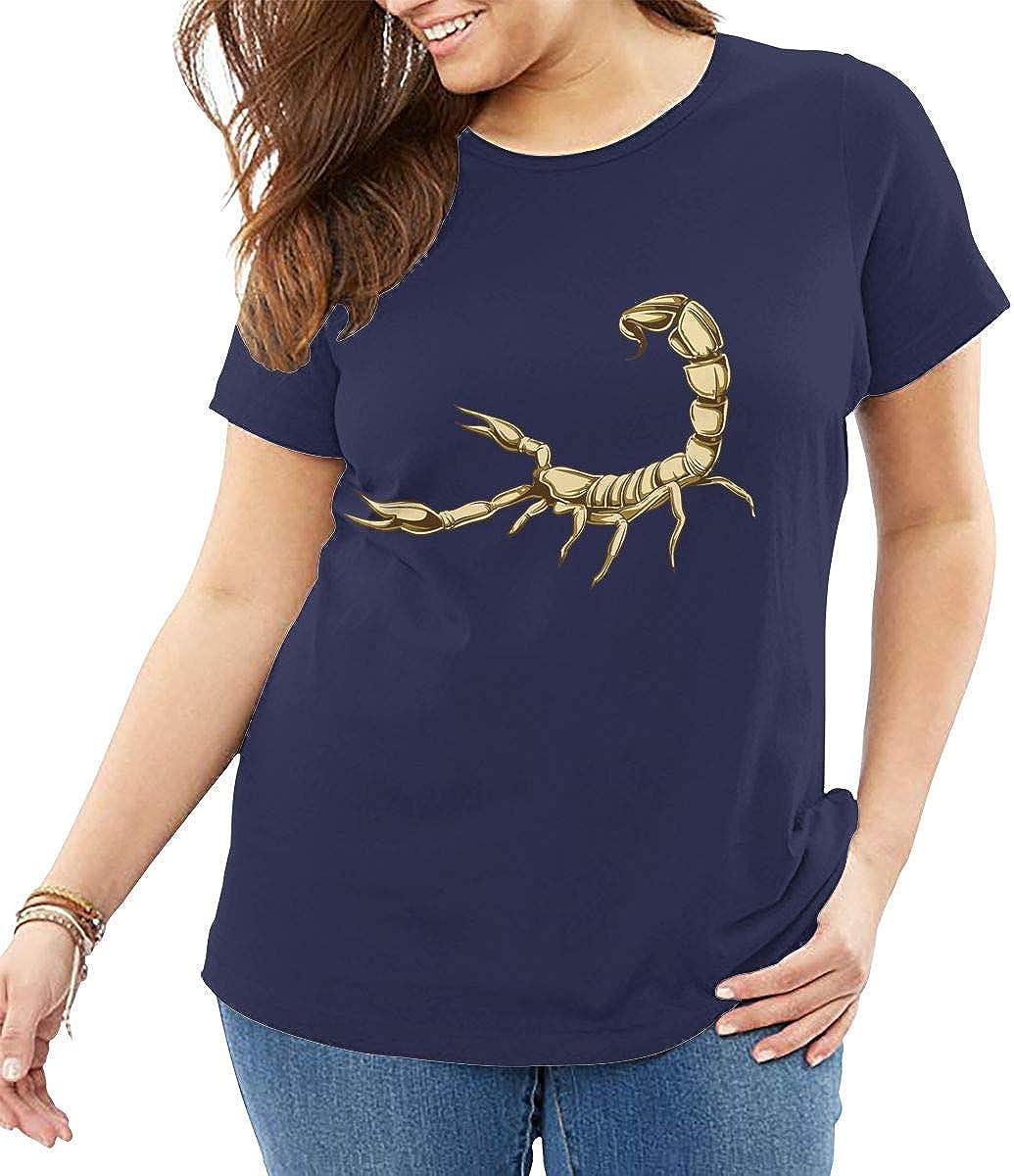 Womens Fashion Big Size Short Slim Fit Tee Casual Short Sleeve Scorpion Graphic Tee Shirts XL-6XL