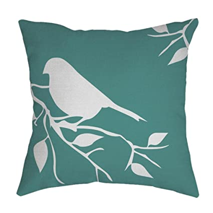 Hattfart Square Cartoon Bird Printed Cushion Cover Cotton Throw Pillow Case Sham Slipover Pillowslip Pillowcase For Home (Green)