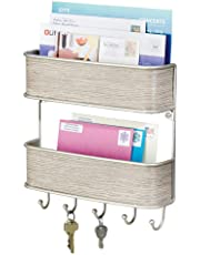 mDesign Letter Tray and Key Organiser - Wall-Mounted Key Rack and Letter Holder - 2 Slots for Letters and Multiple Key Hooks - Satin/Grey Wood Finish