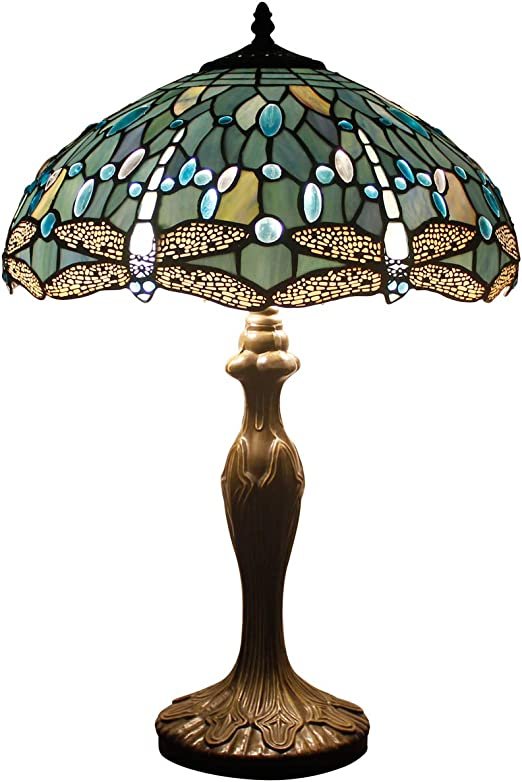 Tiffany Style Table Lamp Desk Beside Lamps 24 Inch Tall Sea Blue Stained Glass Shade Crystal Bead Dragonfly 2 Light Antique Zinc Base for Coffee Table