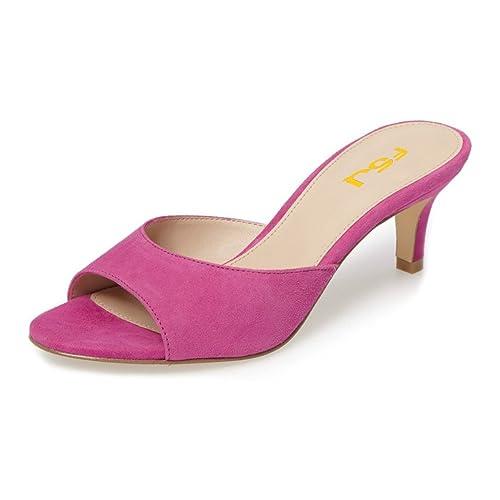 486ebae6381 FSJ Women Faux Suede High Heel Mules Peep Toe Slip On Casual Sandals Slide  Shoes Size