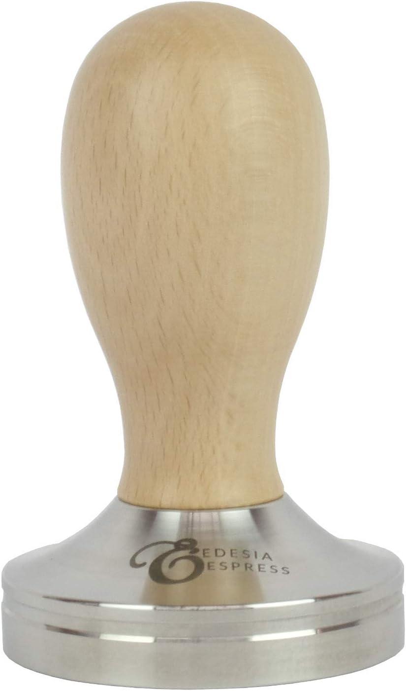 51 mm Mango de palisandro y base plana de acero inoxidable Edesia Espress Prensador de caf/é
