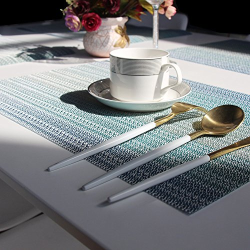 Placemats Washable Easy to Clean Pvc Placemat for Kitchen Table Heat-resistand Woven Vinyl Hard Table Mats 12x18 inches Set of 6 (Blue) by Bright Dream (Image #7)