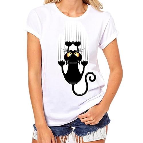 Donna T-shirt Vovotrade Plus Size Stampa breve maniche in cotone bianco