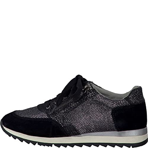 sports shoes e1e17 ee310 Jana sportliche Damen Leder Sneakers schwarz, Extra Weite H,  Soft-Flex-System, 1338136/36