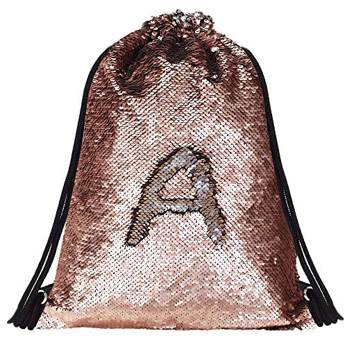 - Alritz Mermaid Sequin Drawstring Bags, Reversible Flip Sequins Backpacks Magic Tote Glittering Shoulder Bags for Girls Kids Women (Matte Champagne/Silver)