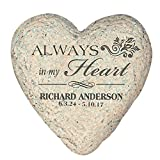 GiftsForYouNow Small Heart Personalized Memorial Garden Stone, 5.5'', Resin, Waterproof, Indoor/Outdoor