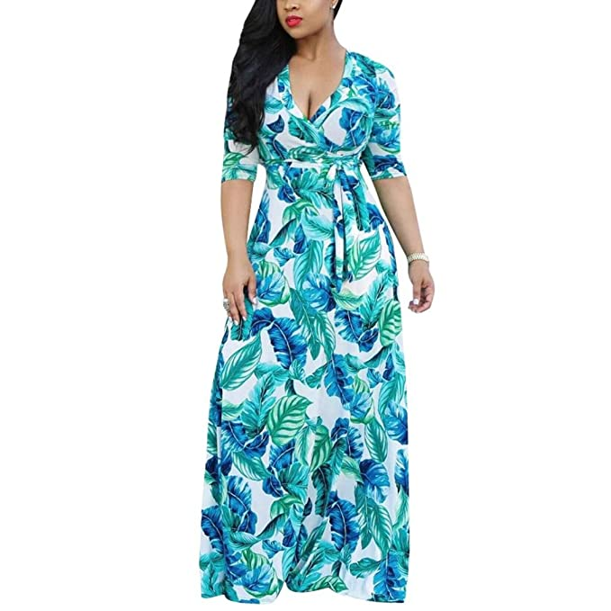 883a26f5bfd37 MODOQO Women s V-Neck Print Plus Size Sexy Loose Dresses Party Beach Boho  Dress at Amazon Women s Clothing store