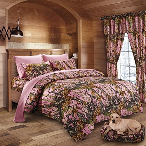 Camouflage Queen Comforter Set - 20 Lakes Woodland Hunter Camo Comforter, Sheet, & Pillowcase Set (Queen, Pink)