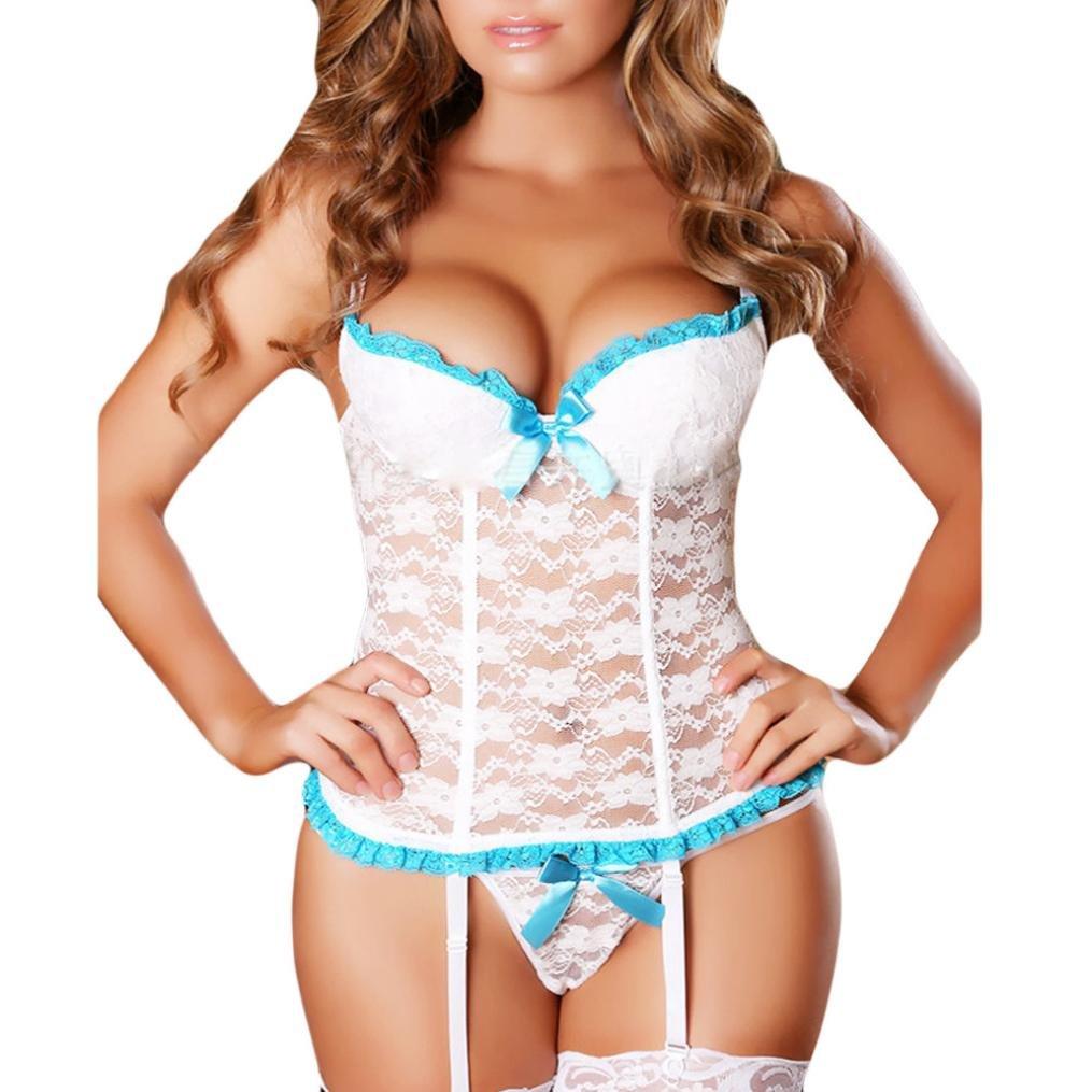 cc192516d4 Amazon.com  XILALU Women Sexy Plus Size Bowknot Lace Lingerie Garter Bustier  Corset Bra G-String Thong Bodysuit Underwear Set  Clothing
