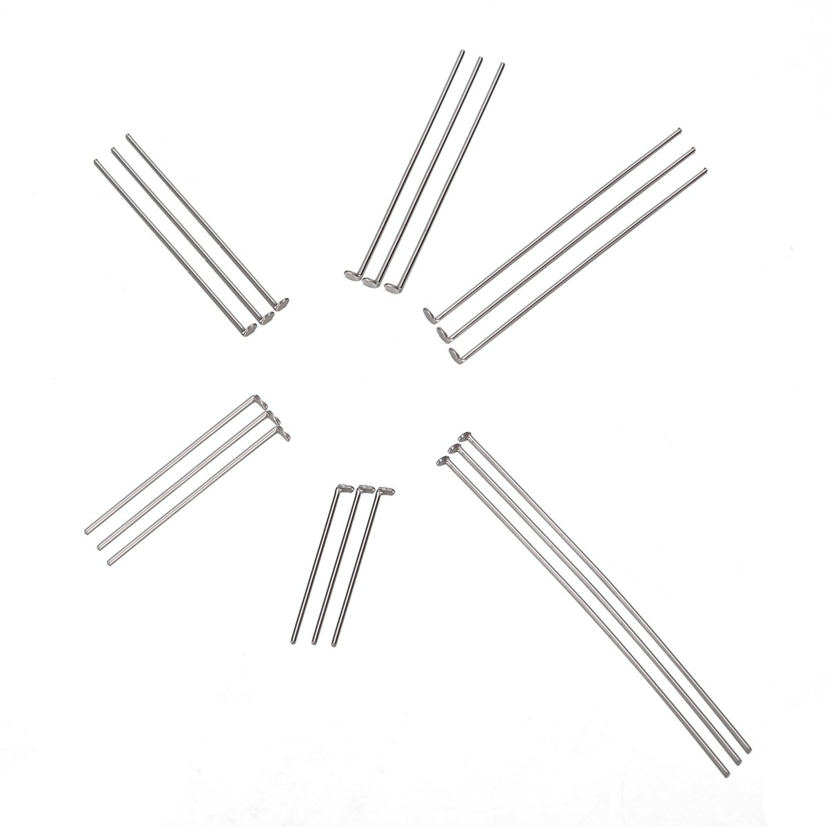 VALYRIA 1500pcs Stainless Steel Head Pins Findings 20mm-50mm(6/8