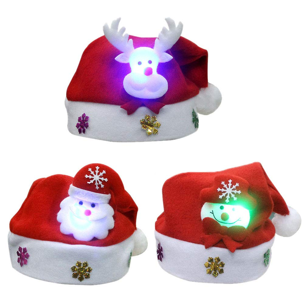Kid Christmas Hat for Kids Child Funny Santa Snowmen Reindeer Christmas Party Hat 3 Pack LED Light Up Headband Soft Comfort Flannel Christmas Party Kit 9 8 Inch Wide Size for Kids under the age of 8