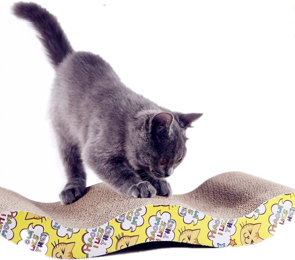 LOYEH Cat Scratcher Cardboard for Kittens, Corrugated Scratching Pad with Wave Curved Young Cats Catnip Cardboard Sofa Lounge Wave,16x8x1.5 inches Brown