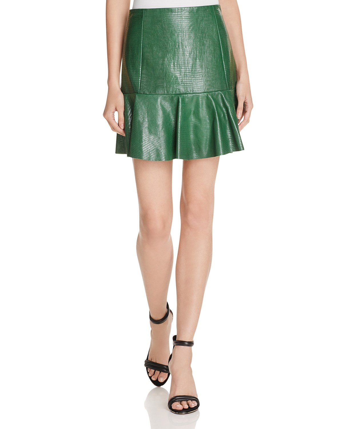 Rebecca Taylor Women's Embossed Leather Skirt (10, Emerald Green)