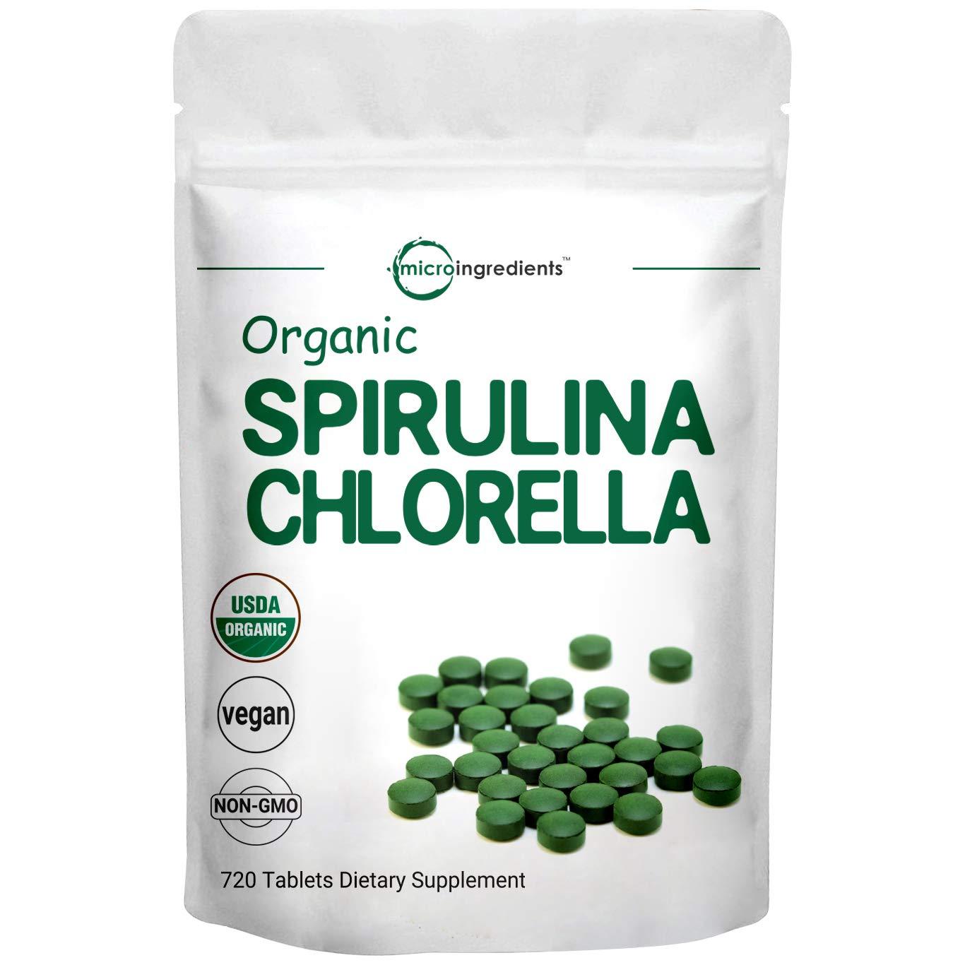 Organic Chlorella Spirulina Tablets, 3000mg Per Serving, 720 Counts, 120 Servings (4 Months Supply), Rich in Chlorophyll, Prebiotics, Immune Vitamins, Fiber, Proteins, No GMOs, Vegan