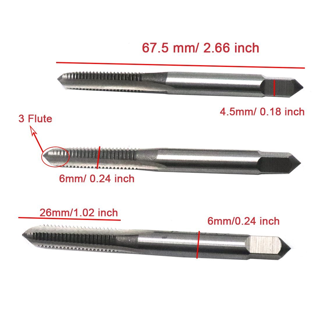 ZXHAO High-Carbon Steel M6x1mm//0.24x0.04 inch Straight 3 Flutes Metric Hand Taps 1set
