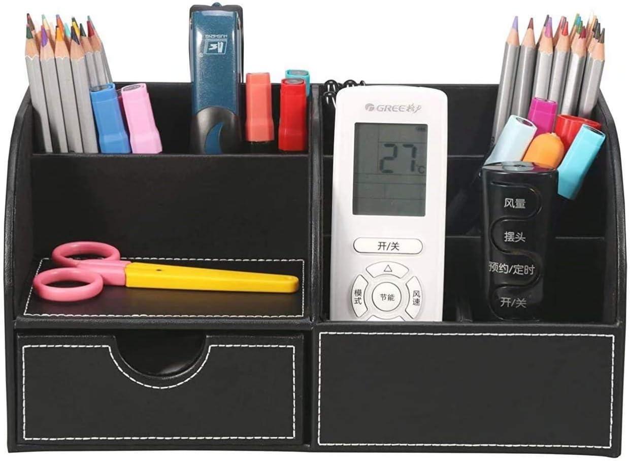 WINSHEA 7 Compartimentos Oficina Organizador Sistema de Escritorio de Cuero Sintético Accesorios para Escritorio Organizador de Oficina (Negro)