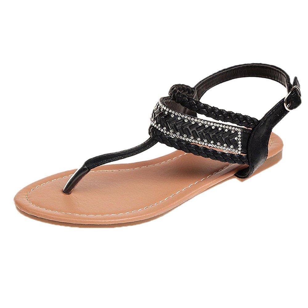 Sandale Femme Ete,GongzhuMM Slippers Summer Pinch Sandales à Diamant bohémien décontracté pour Femmes Sandales Gladiateur Roman Flats