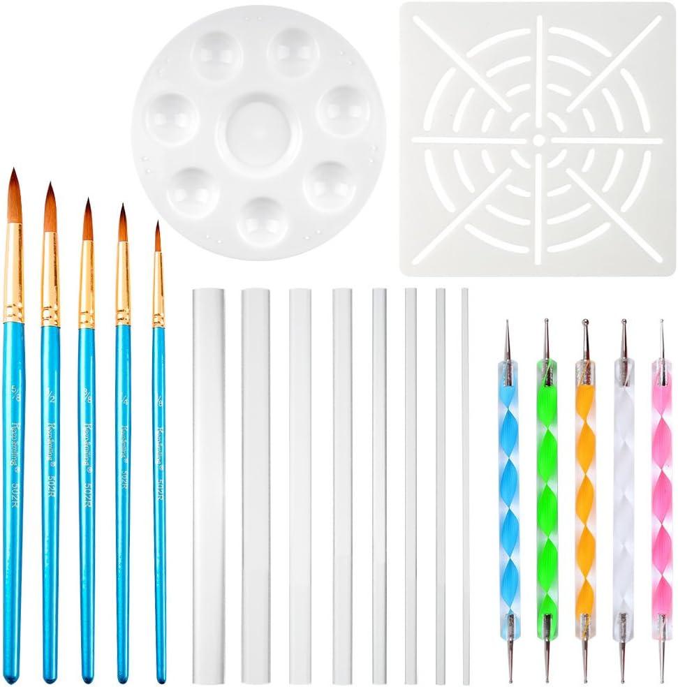 CCMART 20pcs Mandala Dotting Tools para Rock Painting - 1 x Mandala Dot Painting Stencil, 5 x Mandala Pincel para pintar, 1 x Paint Tray, 8 x Acrylic Rods, 5 x Mandala Double Sided Dotting Tools