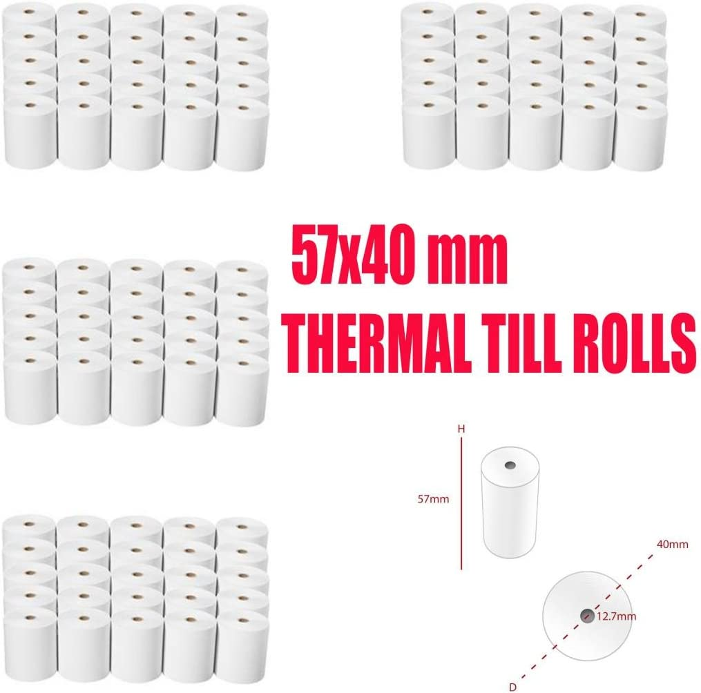 100 Rolls of 57x40 Thermal Till Rolls for Credit Card Machines