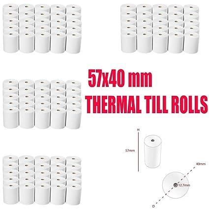 57/x 38/mm rollos de papel t/érmico para tarjetas de cr/édito todos PDQ m/áquinas 20/rollos
