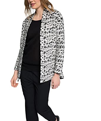 esprit womens mit leo muster long sleeve coat black uk 18 manufacturer - Leo Muster