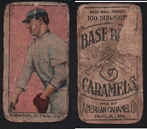 (1910 American Caramel E90-1 (Baseball) Card# 12 kitty bransfield no p on uniform of the Philadelphia Phillies Fair Condition)