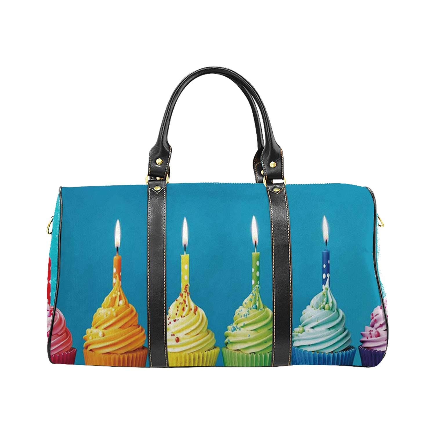 Birthday Decorations College Travel Bag,Cupcakes in Rainbow Colors with Candles Fun Homemade Party Food Sweet for Picnic by YOLIYANA
