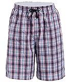 Latuza Men's Cotton Plaid Lounge Sleep Shorts, 13, Large